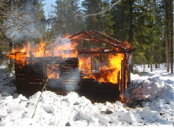 Gamla hotellet brinner
